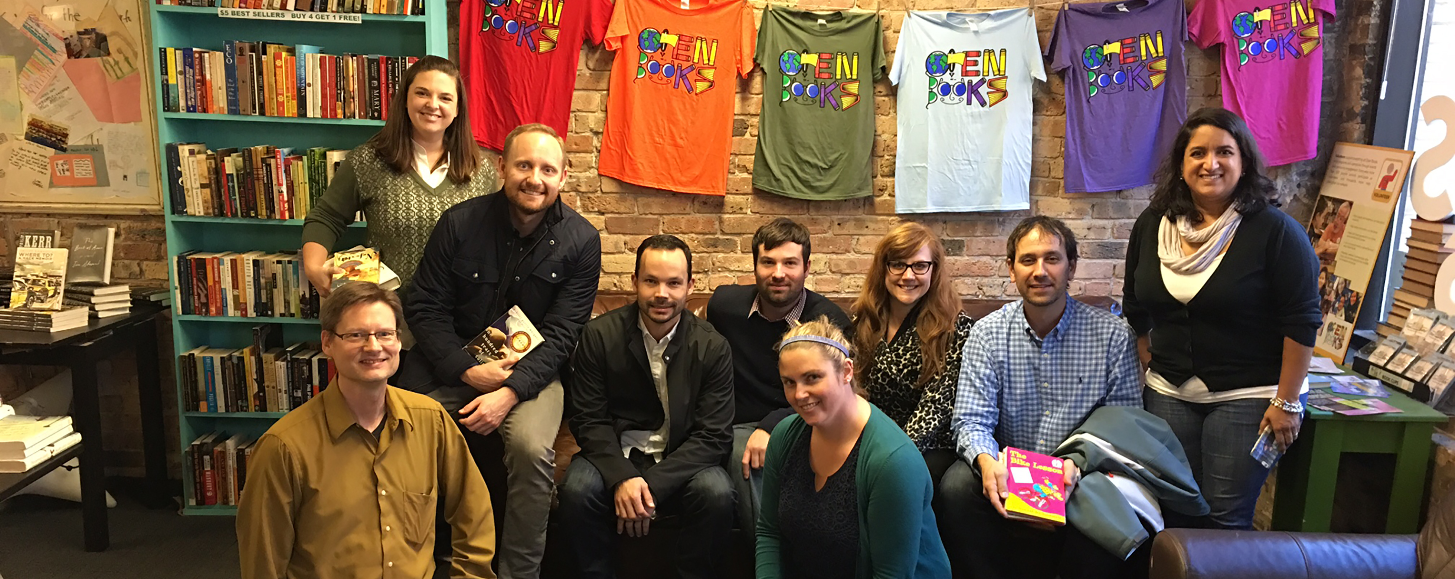 A group of GGP employees volunteer their time at Open Books.
