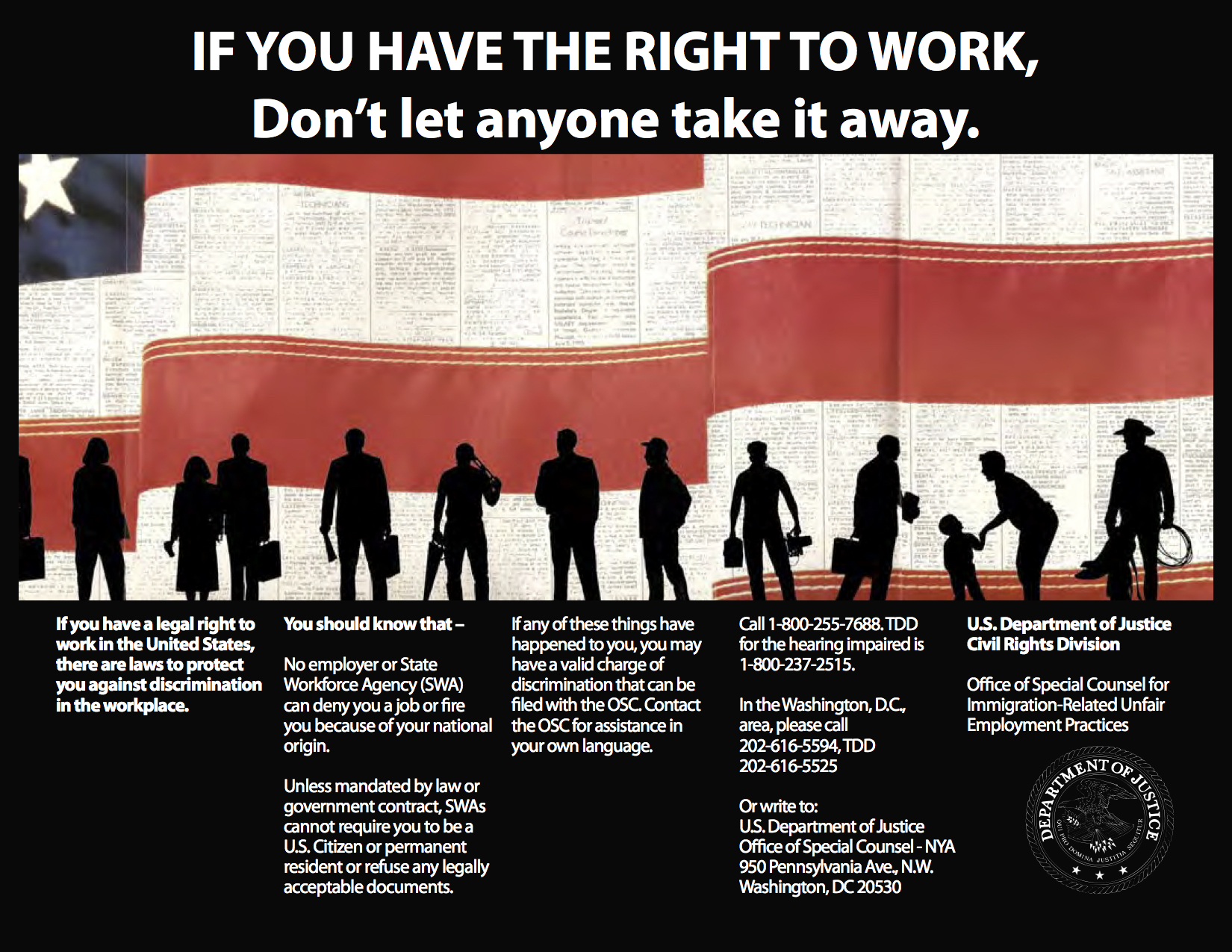 If you have a legal right to work in the US, there are laws to protect you again discrimination in the workplace.