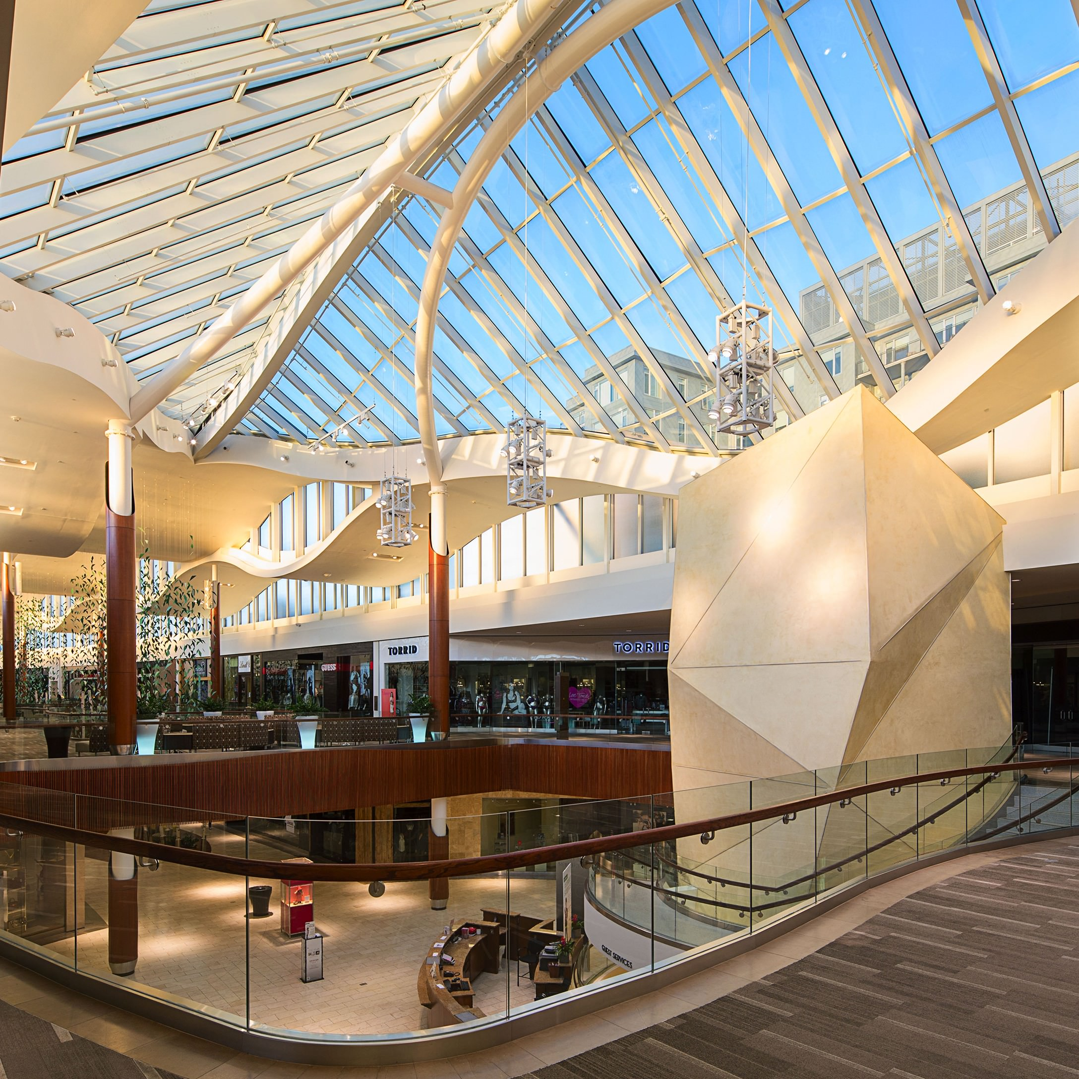 Natick Mall's second level interior overlooking a common area