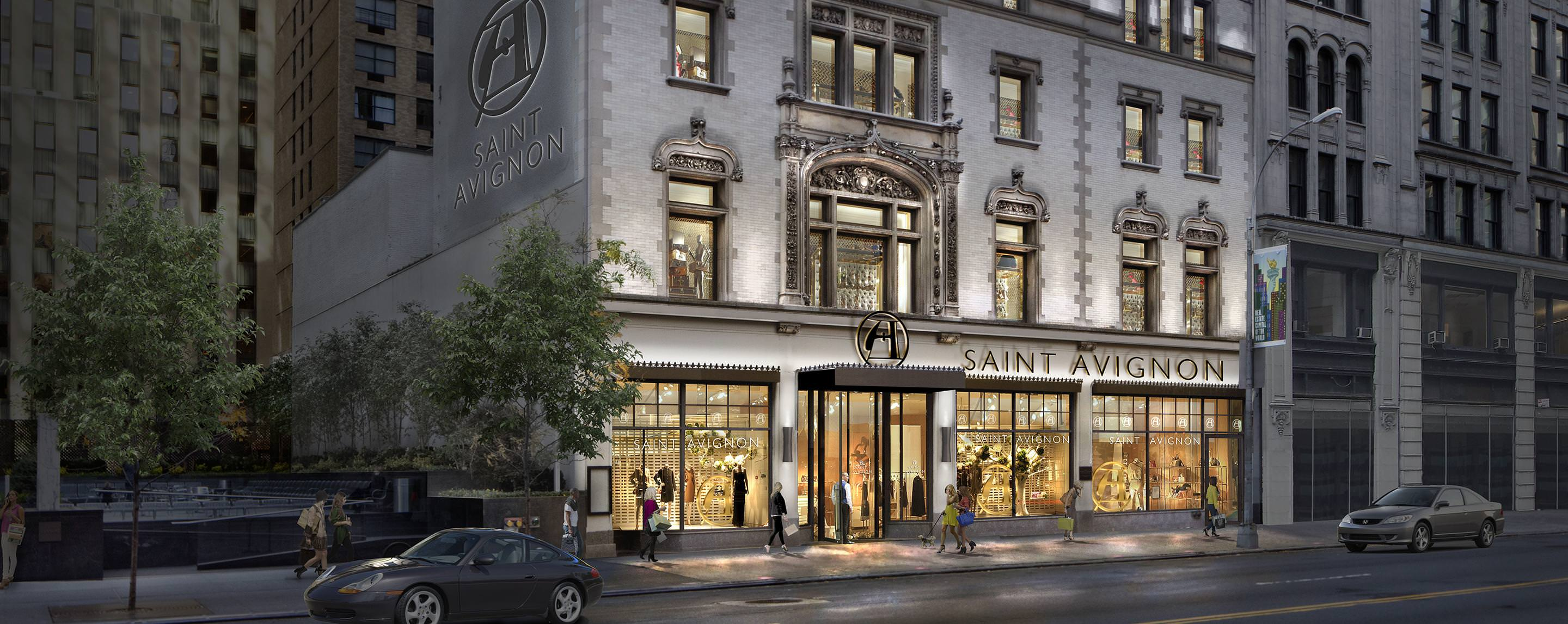 GGP's property on 218 W 57th Street lights up the street at dusk for shoppers passing by.