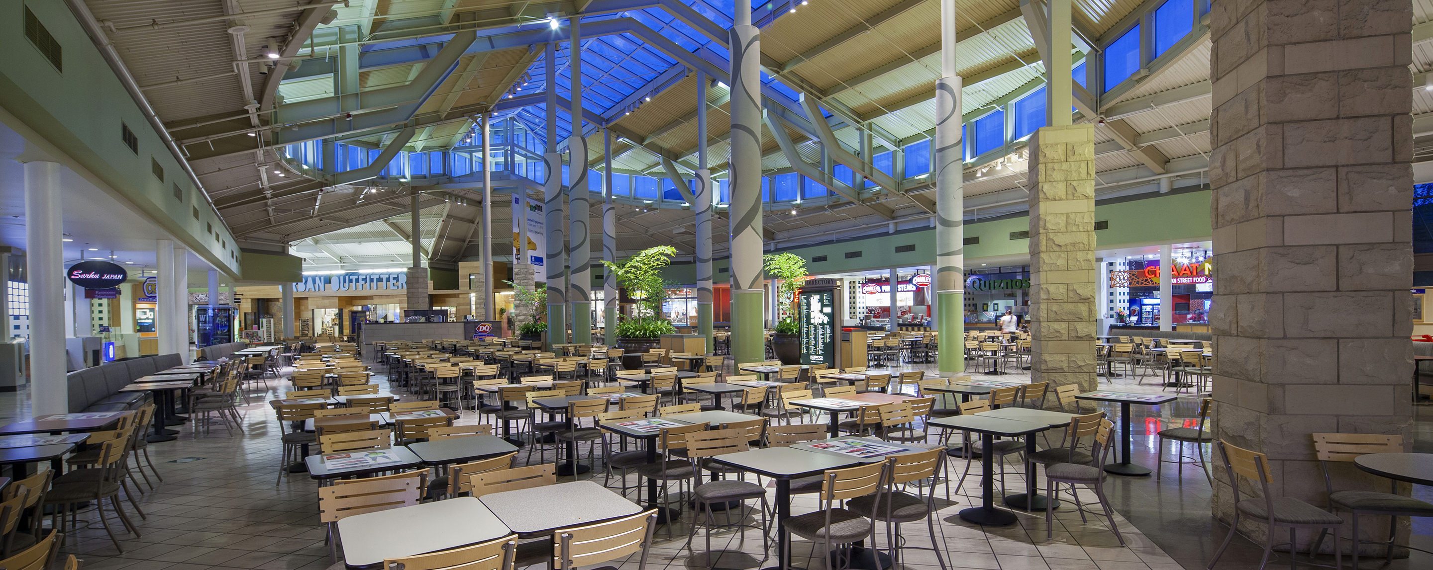 The Alderwood food court is filled with tables and chairs for shoppers to relax and grab a bite to eat.