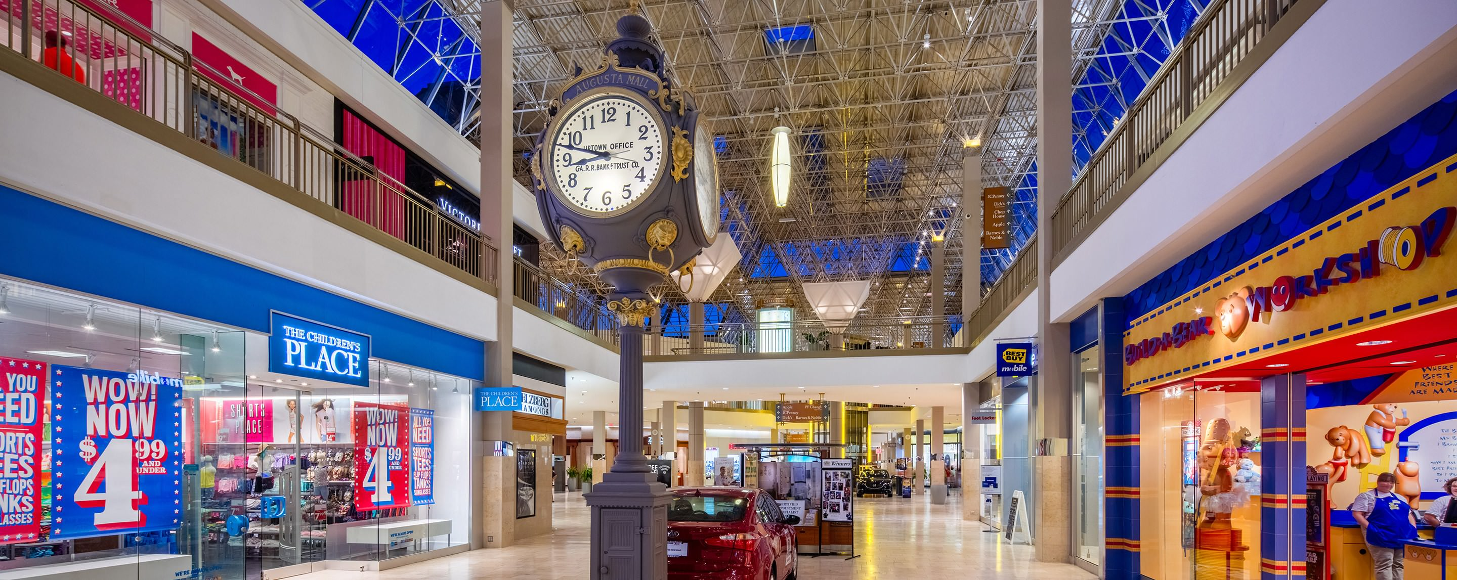 Inside in one of the Augusta Mall's hallways, you can tell time with a tall decorative clock in the common area.