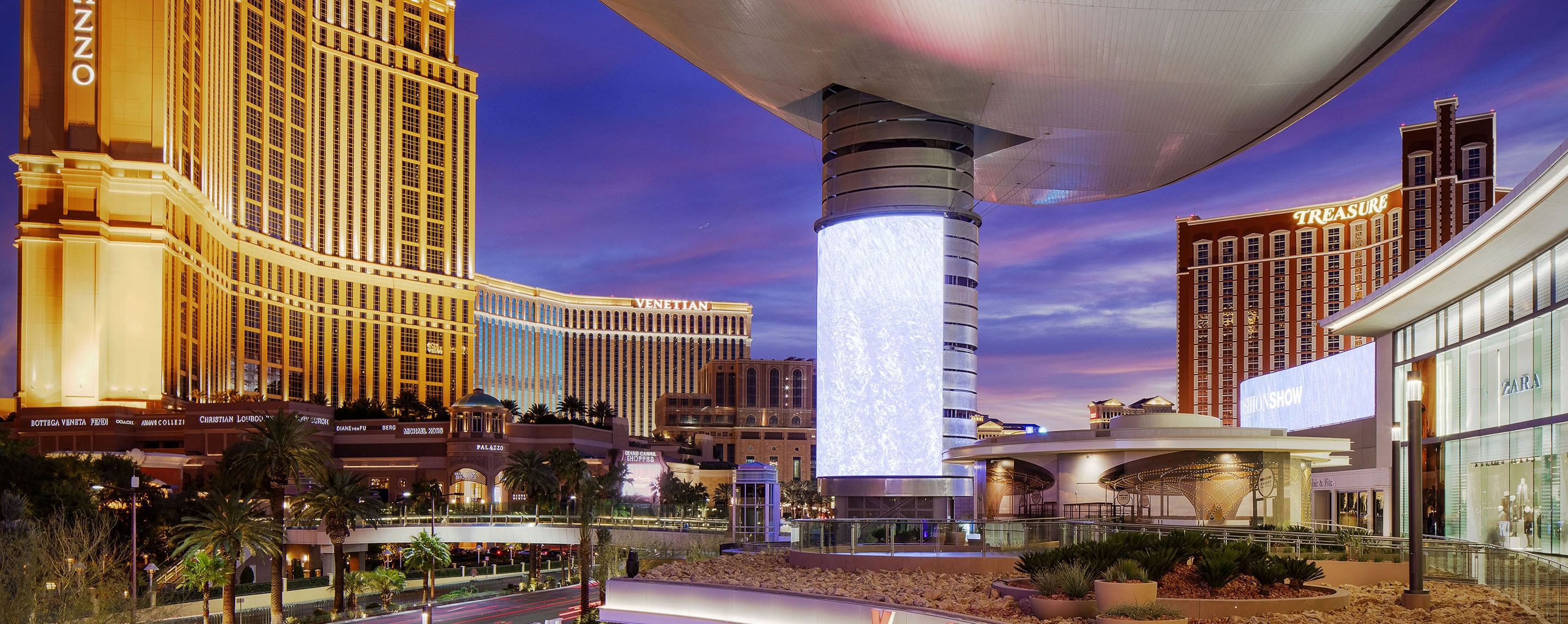 Surrounding Fashion Show Are Lit Up Las Vegas Building And Hotels At Night Decorated With Numerous