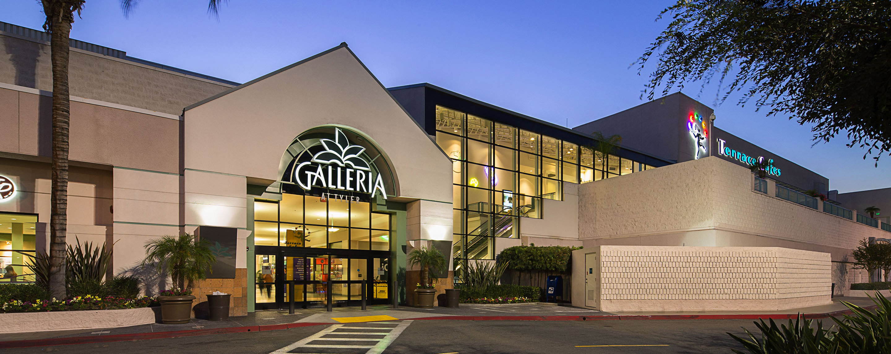 From across the street, the Galleria at Tyler sign is lit up to welcome shoppers and visitors to the property.