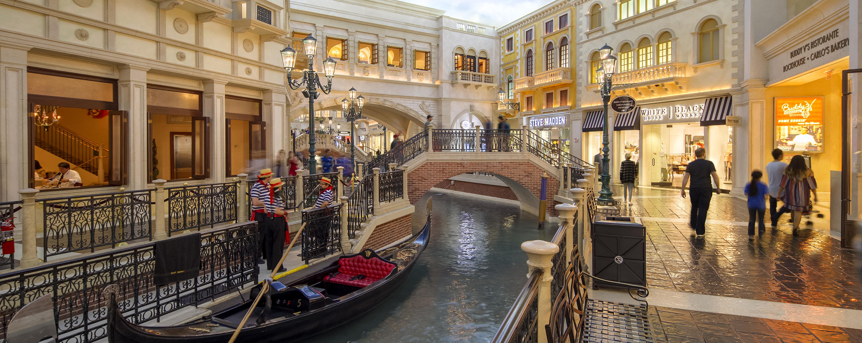 Shoppers relax, take in the beautiful Venetian architecture and enjoy a true one-of-a-kind experience floating down the Venetian's Grand Canal in an Italian gondola.