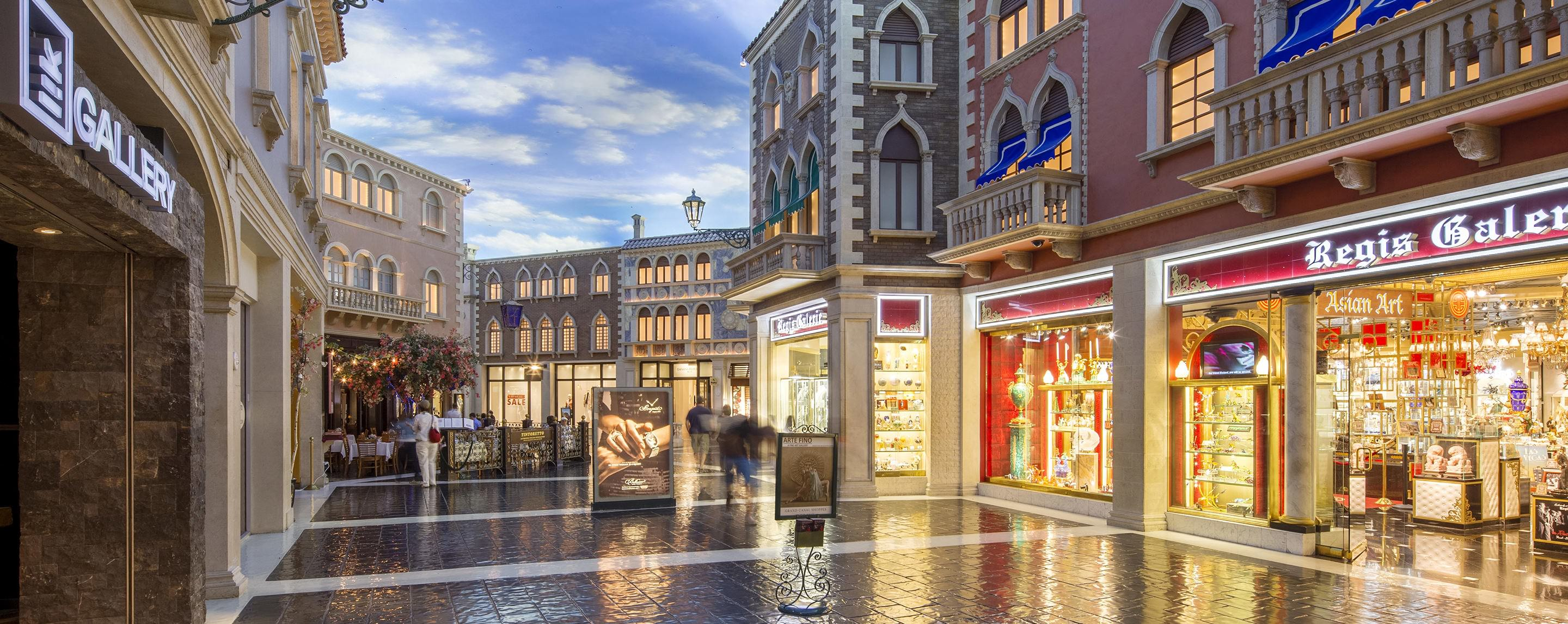The interior of the Grand Canal Shoppes is designed to look like a replica of a small Venetian town.