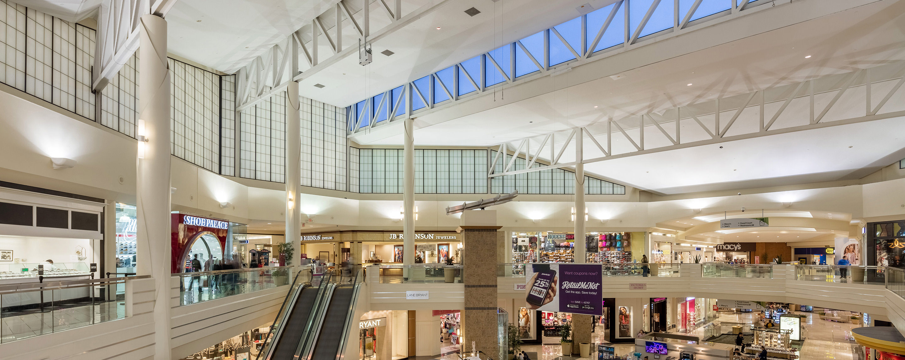 In the main indoor atrium at Meadows Mall, two levels are lined with store fronts and an escalator that can easily take shoppers from one to the other.