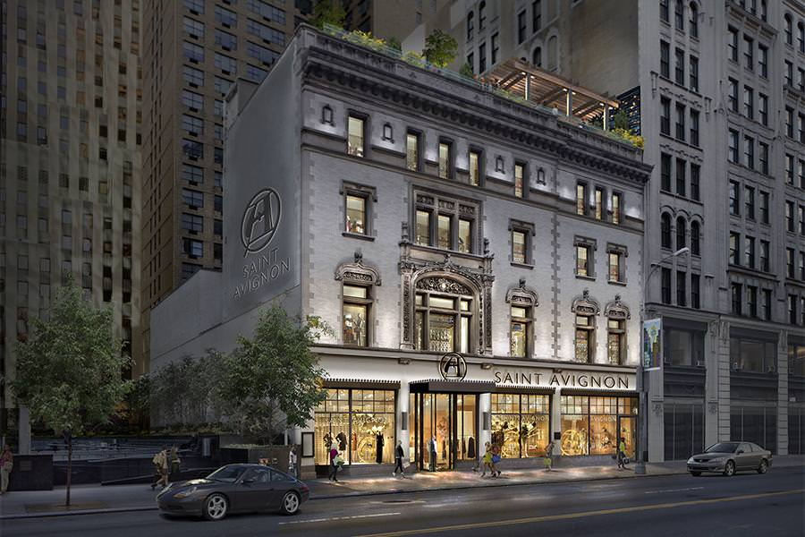The property on 218 W 57th Street lights up the street at dusk for shoppers passing by.