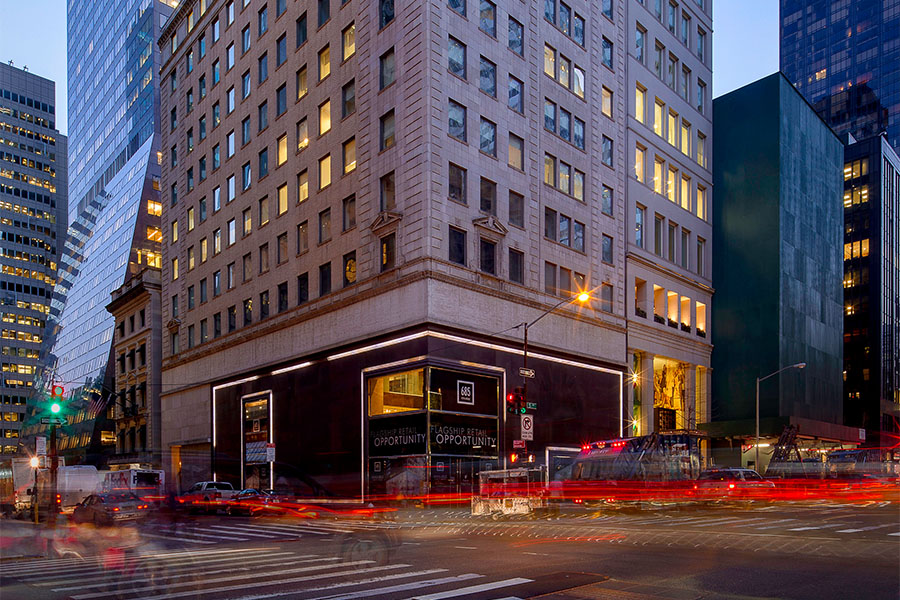 GGPs 685 Fifth Avenue Property Is Lit Up At Dusk As Traffic Pass By The Building