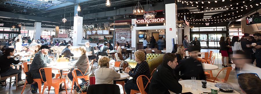 Oakbrook Center's busy food hall experience showcasing Porkchop