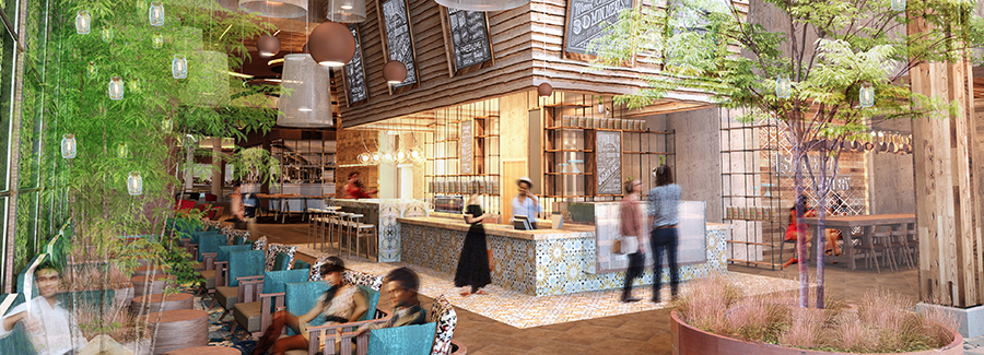 Tyson Galleria's busy food hall experience with a variety of seating options