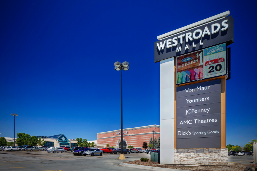 Outside of the Westroads property, an information sign tells shoppers where to find their favorite retailers.